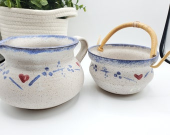 2 Handmade Speckled Pottery Blue Heart Stoneware Creamer/Pitcher Serving Dish Syrup Pitcher and Bowl Signed pottery