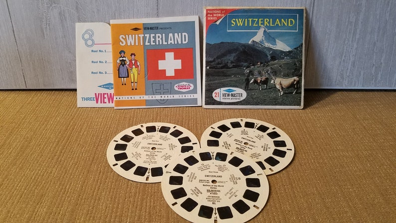 3 reel sets Viewmaster Slide B185 Vintage View Master Film Switzerland Nations of the world series