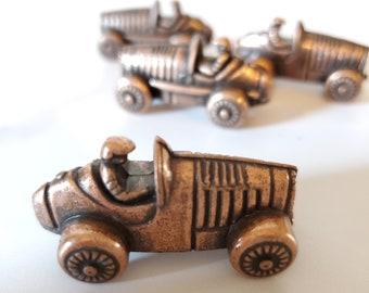 4 Antique Iron Race Car Miniature Game Pieces/Front Porch Classics Inc
