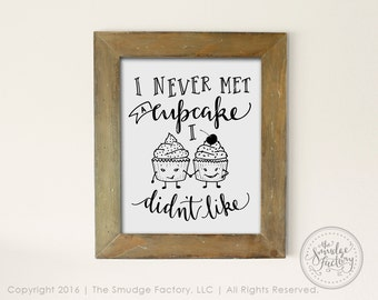 Cupcake Printable File, Hand Lettered Cupcake Print, Hand Drawn, Calligraphy, Cupcakes Clip Art, Girls Love Cupcakes, Cupcake Love Overlay