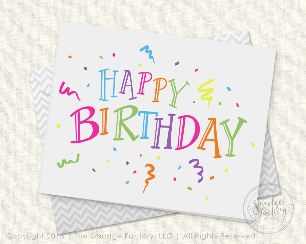 happy birthday printable card diy birthday card print and