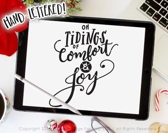 Tidings Of Comfort And Joy SVG Cut File, Christmas Printable, God Rest Ye Merry Gentlemen, Silhouette Cameo, Cricut Design Space, Joy JPG