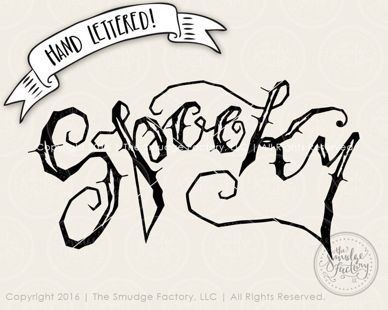 Spooky SVG Cut File Halloween Cutting File Hand Lettered image 0