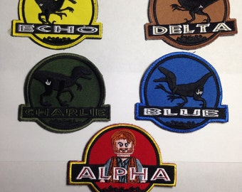 Jurassic World Raptor Alpha,  Blue, Charlie, Echo, Delta. embroidered patch with hook and loops backing.