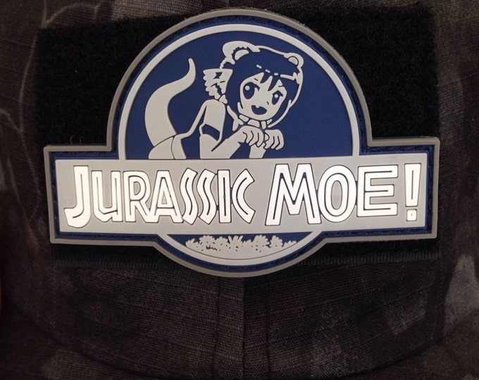 Jurrassic Moe pvc patch with hook and loop  back
