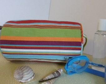 Striped toilet bag