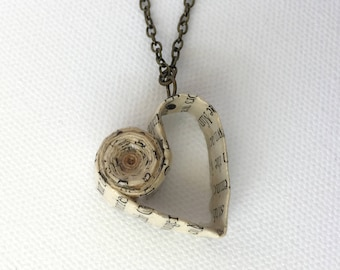 Book Page Heart Necklace, Valentine's Gift, First Anniversary Gift, Upcycled Vintage Book Jewelry, Gift for Book Lover, Paper Anniversary