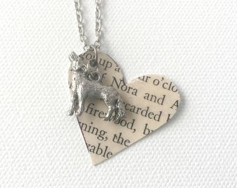 Wolf Book Necklace, Werewolf Necklace, Book Page Heart Necklace, Recycled Book Page Jewelry, Book Club Gift, Shifter Books Necklace, Shiver