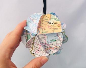Manitoba Ornament, Canada Ornament, Map ornament, Canada souvenir, Manitoba Gift, Christmas Tree Decoration, Recycled gift, eco-friendly
