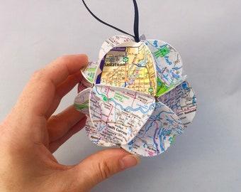 Saskatchewan Ornament, Canada Ornament, Map ornament, Canada souvenir, Saskatchewan Gift, Christmas Tree, Recycled gift, eco-friendly