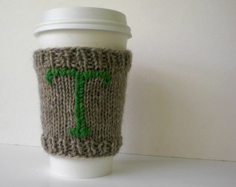 Knit Coffee Cozy, Coffee Sweater, Personalized Initial Monogram, Reusable Coffee Cuff, Wool Coffee Cuff, Starbucks Gift, Eco-Friendly Gift