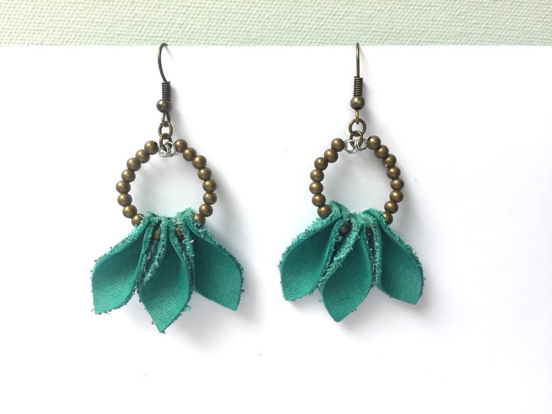 unique earrings leather jewellery eco-friendly gifts real leather gifts for her Teal leather and bead earrings recycled leather jewelry