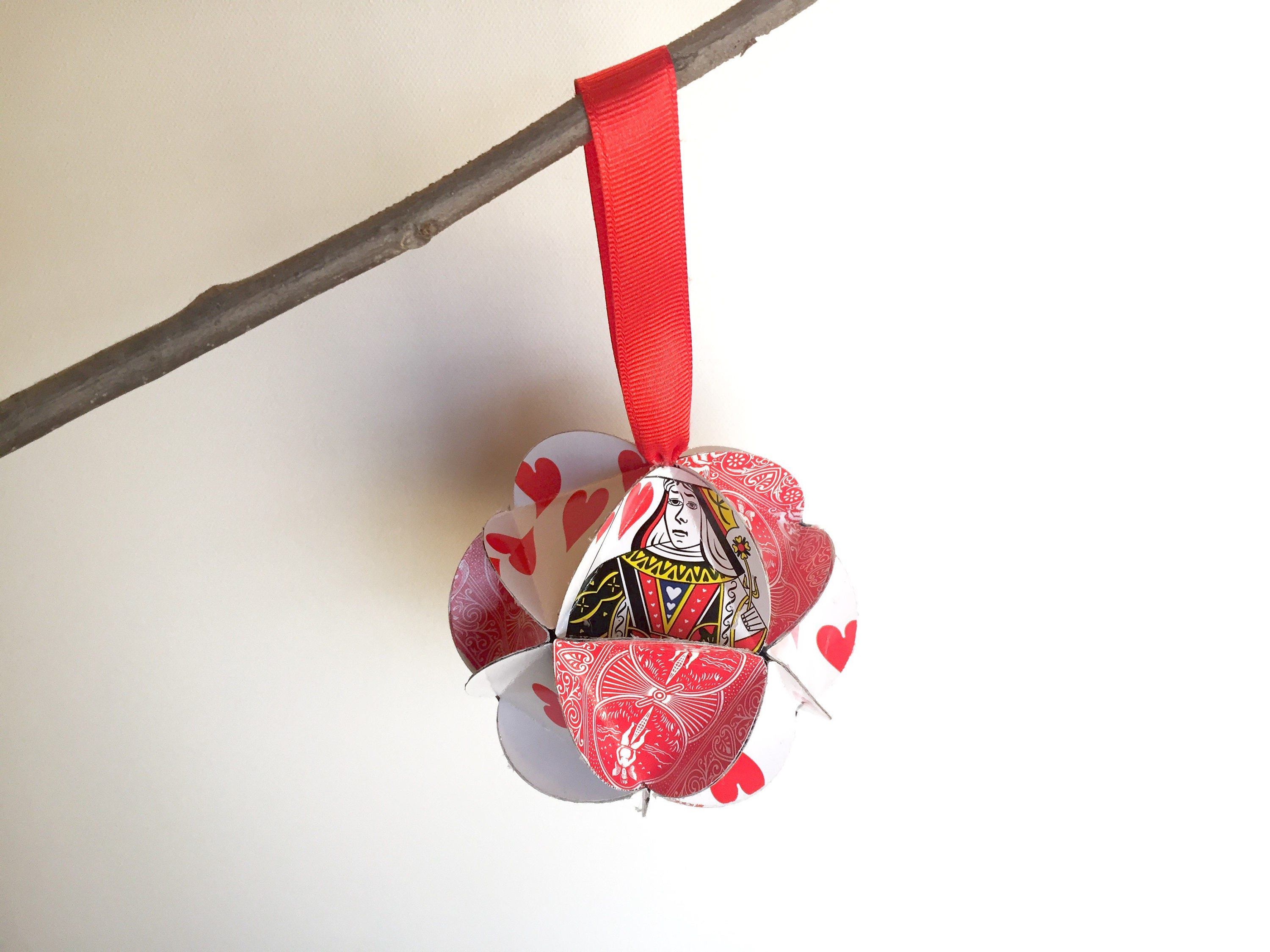 Queen of Hearts Ornament Playing Card Christmas Ornament   Etsy