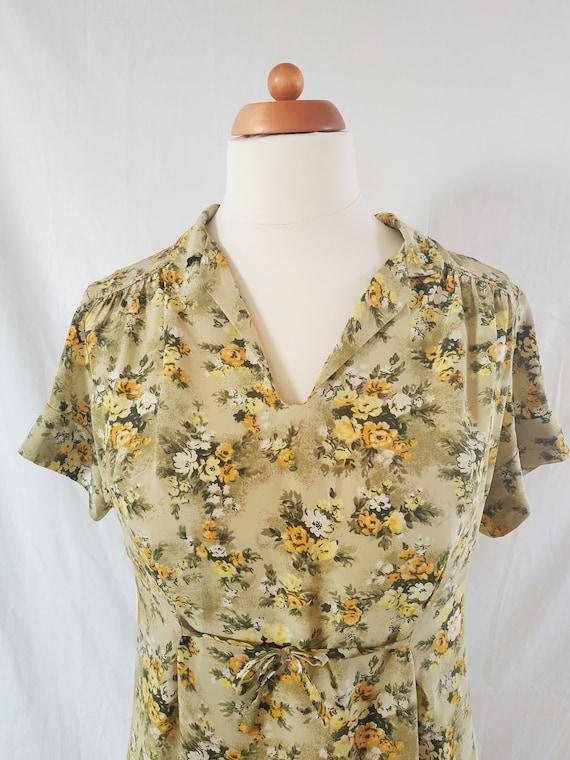Vintage 1960s Silk Dress Summer Flower Dress