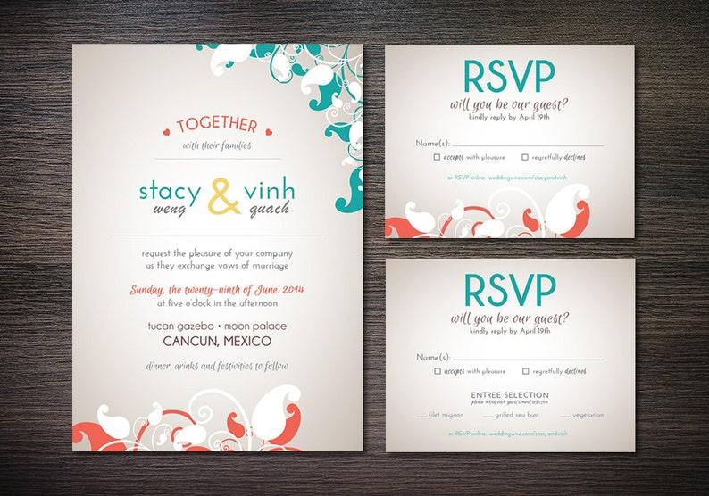 Digital File Turquoise /& Coral Foral Printable Wedding Invitation Set Custom DIY