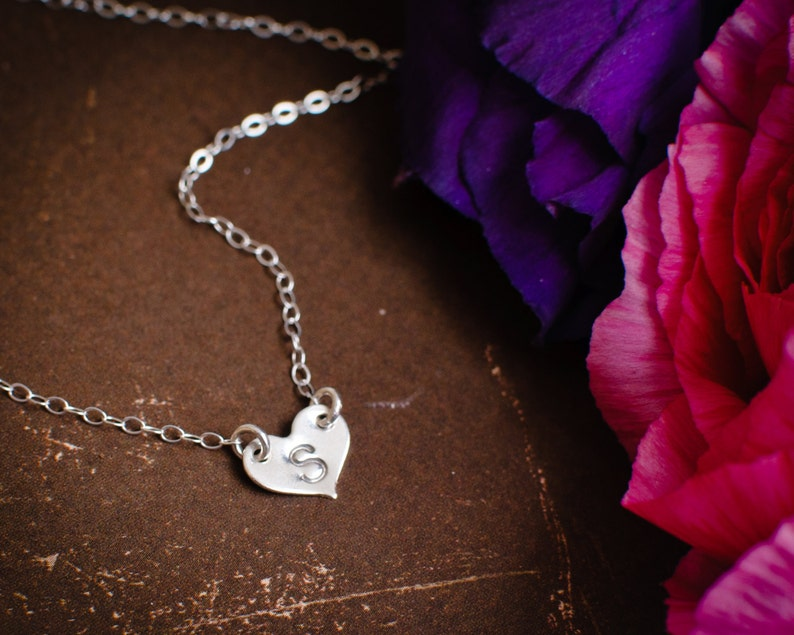 Sterling Silver Dainty Heart Tiny Silver Heart Initial  Layering Necklace Personalized Monogram Layering Necklace