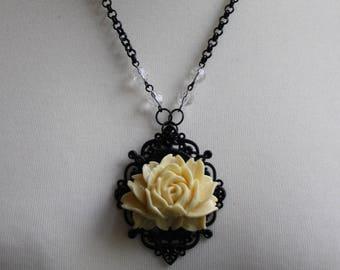 White Rose Elegant Gothic Lolita Cameo Necklace