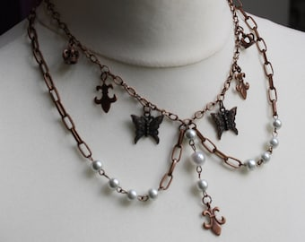 Copper Butterfly Bib Necklace