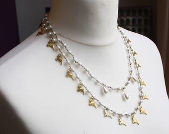 Whimsical Deer Elegant Pearl Necklace