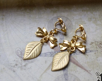 Antique Brass Leaf Clip On Woodland Earrings