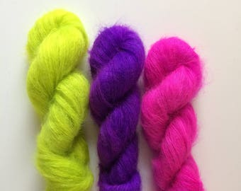 Hand dyed yarn Kid Mohair lace weight and nylon 50g.