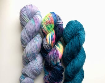 NEW Hand dyed yarn Kit-lets 4ply weight 300g in A/W 2017 Merino and mohair mix!