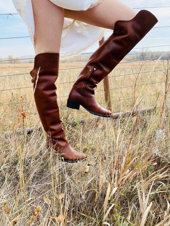 Ralph Lauren Thigh High Brown Leather Boots