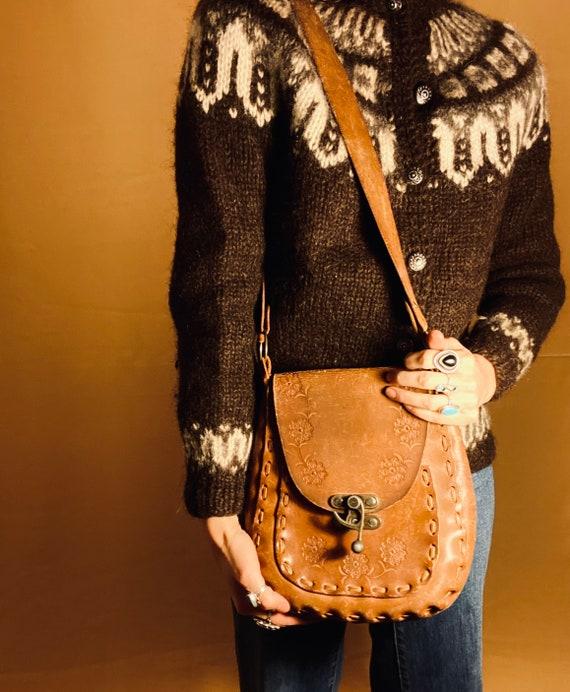 Desert Flowers Tooled Leather Bag | vintage 1970 t