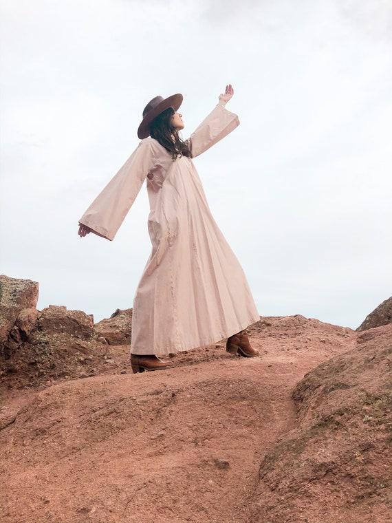Desert Rose Kaftan | 1970 70s bell sleeve dress