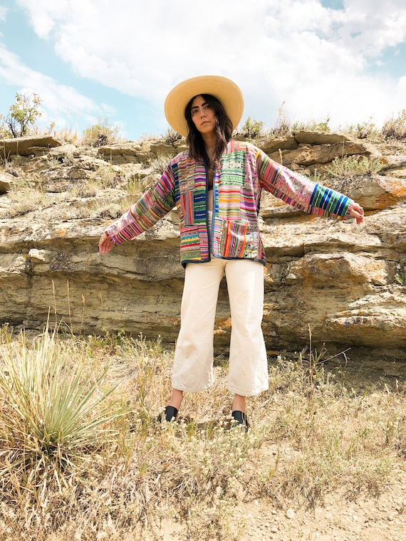 rainbow weaver patchwork jacket | rainbow embroide