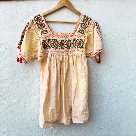 vintage thick cotton MEXICAN EMBROIDERED TUNIC | p