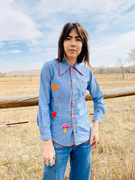 Fruits of Life Ranch Shirt | vintage chambray emb… - image 1