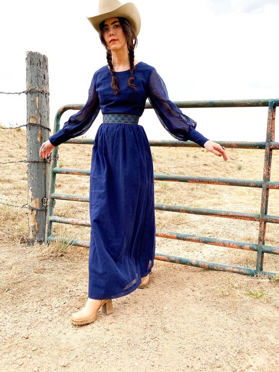Morning Rain Prairie Dress | XS 70's 1970