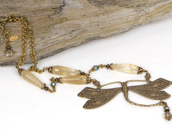 Boho Dragonfly Necklace, Natural Jewelry, Boho Bridal Necklace, Bohemian Dragonfly Jewelry, Dragonfly Statement Necklace, Bohemian Bridal