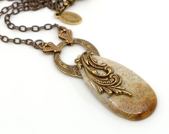 Fossil Coral Pendant Necklace, Handmade Vintage Boho Style with Natural Agatized Coral Stone. Unique Gift for Her