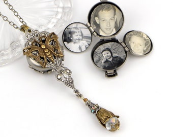 Multi Photo Locket Necklace for Women. Handmade Vintage Victorian Style Butterfly Pendant with 4 Photo Locket. A Unique personalized Gift.
