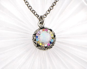 Sterling Silver White Opal Necklace For Women with Rainbow Rhinestones. Minimalist Opal Pendant A Great Gift for Her Birthday or Christmas