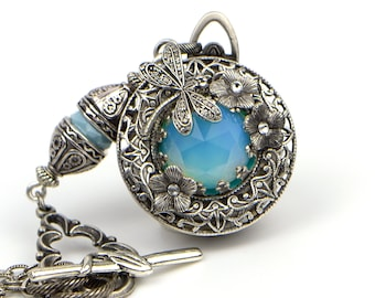 Opalite Multi Photo Locket Necklace for Women. Vintage Victorian Style Dragonfly Pendant with 4 Photo Locket. A Unique personalized Gift.