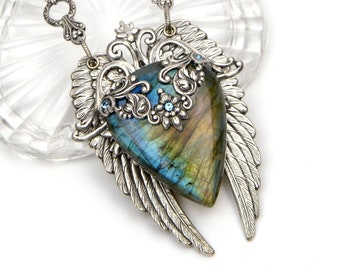Labradorite Pendant Necklace, Angel Wings Statement Necklace, Handmade Gift for Wife, Girlfriend, Mom