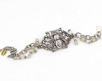 Honey Bee Bracelet, Queen Bee Jewelry, Silver Bee Bracelet, Honey Bee Jewelry, Silver Boho Bracelet, Unique Bee Bracelet, Boho Jewelry Gift