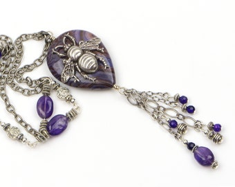 Long Silver Bee Necklace For Women. Purple Crazy Lace Agate and Amethyst Beaded Necklace has Vintage Style, a Unique Boho Handmade Gift.