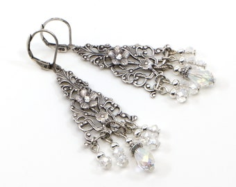 Silver Boho Chandelier Earrings, Antique Silver Bridal Dangle Earrings with Crystal Beads, Unique Vintage Style Handmade Gift for Bridesmaid