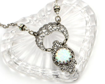 Opal Necklace For Women. Antique Silver Filigree Crescent Moon Celestial Necklace October Birthstone. Opal a Stone Representing Hope&Purity