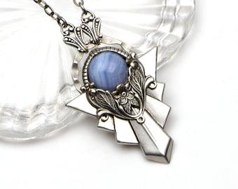 Blue Lace Agate Pendant Necklace for Women. Art Deco Pendant with Natural Blue Lace Agate Gemstone. Unique Handmade Gift