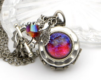 Antique Silver Multi Photo Locket with Dragon's Breath Red Mexican Fire Opal Glass Cabochon. Unique Personalized Handmade Christmas gift.