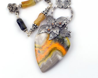 Bumblebee Jasper Pendant Necklace for Women. Natural Vibrant Orange and Grey Gemstone Statement Necklace. A Unique Handmade Jewelry Gift.