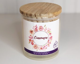 Cinnamon Scented Candle, Wooden Wick Candle, Soy Blend Wax Candle, Wood Wick, Best Friend Gift, Christmas Scent, Housewarming