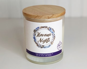 Havana Nights Scented Candle, Wooden Wick, Soy Blend Wax Candle, Wood Wick, Best Friend Gift, Sensual Scent, Housewarming, Hostess gift