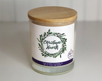 Christmas Hearth Scented Candle, Wooden Wick, Soy Blend Wax Candle, Wood Wick, Best Friend Gift, Christmas Scent, Housewarming, Holidays