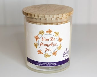 Vanilla Pumpkin Pie Scented Candle, Wooden Wick Candle, Soy Blend Wax Candle, Wood Wick, Best Friend Gift, Christmas Scent, Housewarming